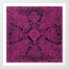 Hot Magenta Ancient Cross Stamp Art Print