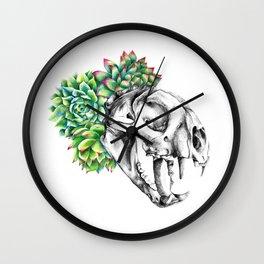 Rock Rose Cat Skull Wall Clock