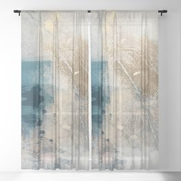 Embrace: a minimal, abstract mixed-media piece in blues and gold with a hint of pink Sheer Curtain