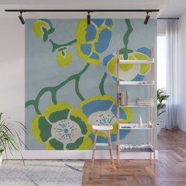Japanese Flowers On Light Blue Background Wall Mural