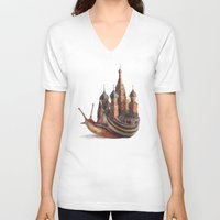 joy V-neck T-shirts featuring The Snail's Daydream by Eric Fan