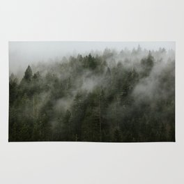 Pacific Northwest Foggy Forest Rug