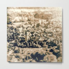 Sunlight on small french village in countryside landscape vintage styled Metal Print