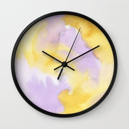 Lilac lavender sunflower yellow abstract watercolor Wall Clock