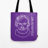 hemingway Tote Bags featuring Hemingway by G_Stevenson