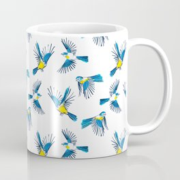 Flying Blue Tit / Bird Pattern Coffee Mug