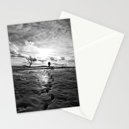 Footprints and silhoutted Stationery Cards