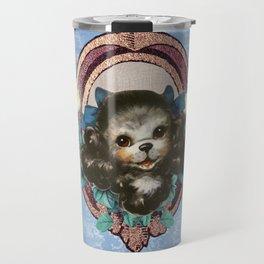 Kitschy Blue Puppy Travel Mug