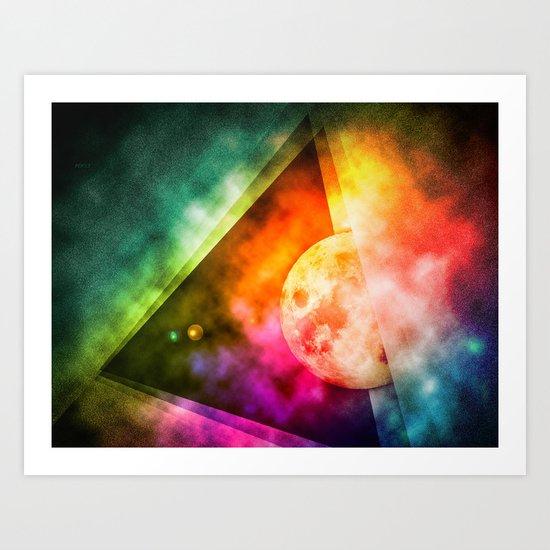 Abstract Full Moon Spectrum Art Print