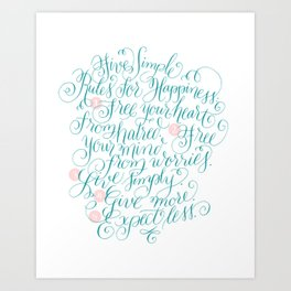 Five Simple Rules for Happiness Art Print