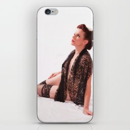 """""""Shawls and Garters"""" - The Playful Pinup - Sexy Lace Classic Pin-up by Maxwell H. Johnson iPhone Skin"""