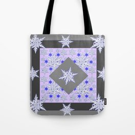 DECORATIVE GREY SNOW CRYSTALS  WINTER ART Tote Bag
