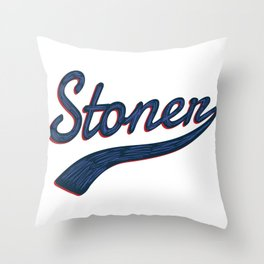 Stoner Vintage Baseball Script Marijuana Throw Pillow