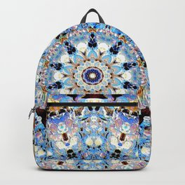 Blue Brown Folklore Texture Mandala Backpack