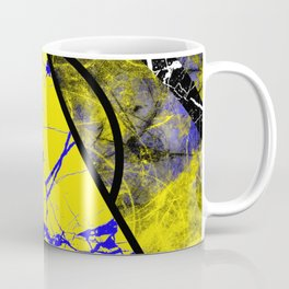 Night And Day - Blue And Yellow, Black And White, Abstract, Geometric, Marble Artwork Coffee Mug