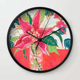 Pink and White Lily Bouquet with Matisse Wallpaper Wall Clock
