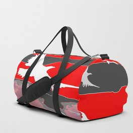 WHITE BIRDS IN FLIGHT RED-GREY SKY ABSTRACT Duffle Bag