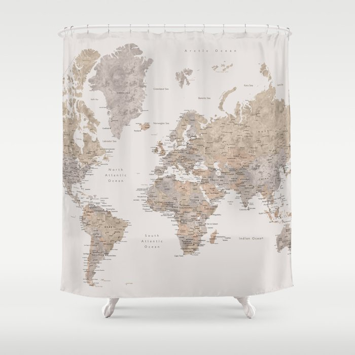 World Map With Cities In Brown And Light Gray Shower Curtain