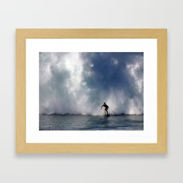 Surfing At The Wedge In Newport Beach, Califonia Framed Art Print