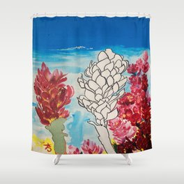 Alpinia purpurata – Red Ginger Flower Shower Curtain