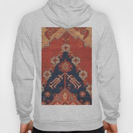 Southwest Tuscan Shapes III // 18th Century Aged Dark Blue Redish Yellow Colorful Ornate Rug Pattern Hoody