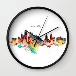 Kansas City Skyline Silhouette Wall Clock
