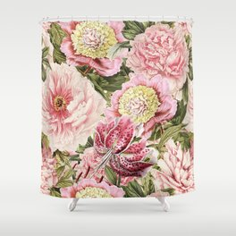 Vintage & Shabby Chic Floral Peony & Lily Flowers Watercolor Pattern Shower Curtain