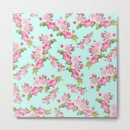 Pink & Mint Green Floral Metal Print