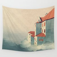 castle Wall Tapestries featuring Castle in the Sky by Schwebewesen • Romina Lutz