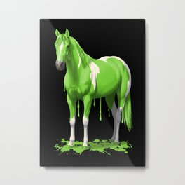 Neon Green Wet Paint Horse Metal Print