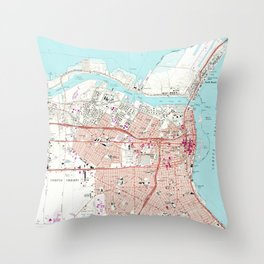 Vintage Map of Corpus Christi Texas (1968) Throw Pillow