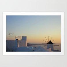 sunset in oia Art Print
