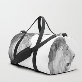 Black and White Lion Profile Duffle Bag