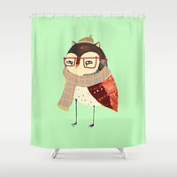 owl Shower Curtains featuring  Owl by Ashley Percival illustration