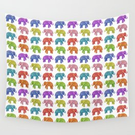 Colorful Parade of Elephants in Red, Orange, Yellow, Green, Blue, Purple and Pink Wall Tapestry