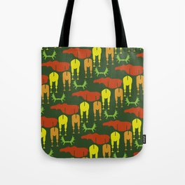 Green Moose Pattern Tote Bag