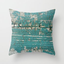 Rustic Wood Turquiose Paint Weathered Throw Pillow