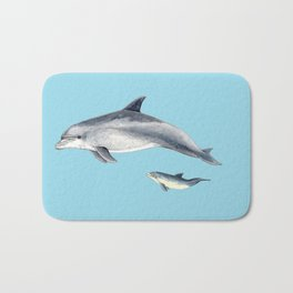 Blue Bottlenose dolphin Bath Mat