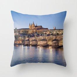 Prague Castle and Charles Bridge Throw Pillow