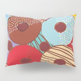 Sweet donuts set with icing and sprinkls isolated, pastel colors on chocolate Pillow Sham