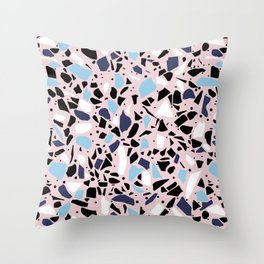 Terrazzo Spot Blues on Blush Throw Pillow