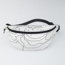 Minimal Line Art Ocean Waves Fanny Pack