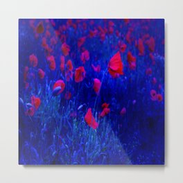 Red in Blue Metal Print