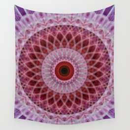 Red and violet mandala with floral ornament Wall Tapestry