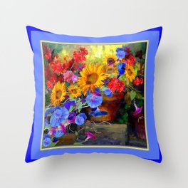 Sunflower Blue Morning Glories Still Life Painting Throw Pillow