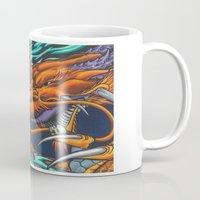 lakers Mugs featuring Purple & Gold Sado Dragon by SADOstyle