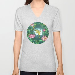 Minhwa: Moonlight Pond  F Type Unisex V-Neck