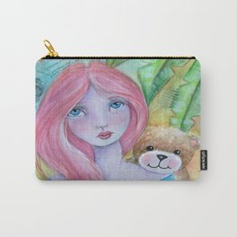 Whimsical Girl with Bear Carry-All Pouch