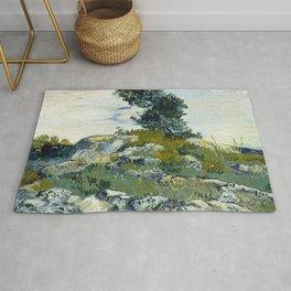 The Rocks by Vincent van Gogh Rug