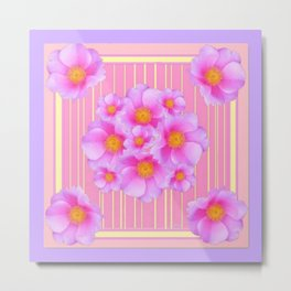 Decorative Wild Pink Roses Yellow Pattern Metal Print